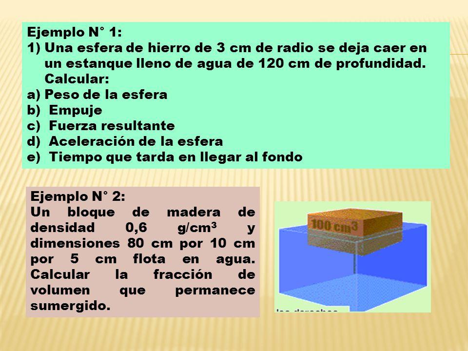 Ejemplo N° 1: Una esfera de hierro de 3 cm de radio se deja caer en un estanque lleno de agua de 120 cm de profundidad. Calcular: