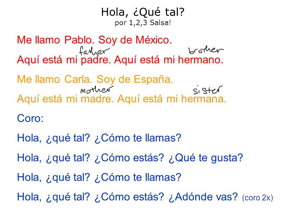 Hola, ¿Qué tal por 1,2,3 Salsa! Me llamo Pablo. Soy de México. Aquí está mi padre. Aquí está mi hermano.