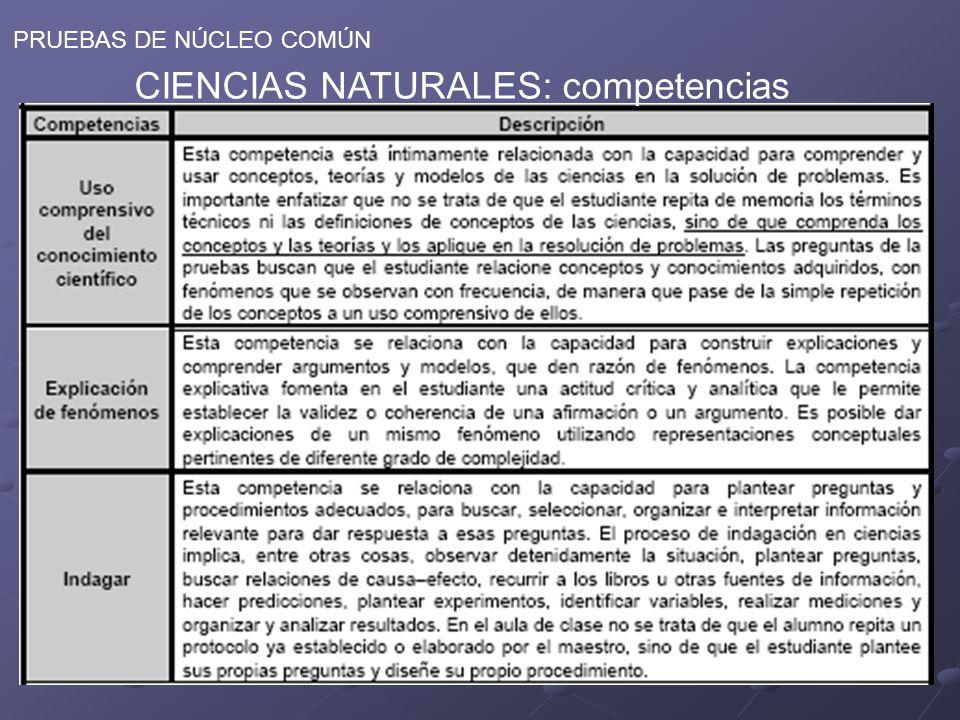 CIENCIAS NATURALES: competencias