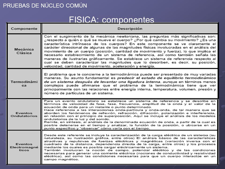 PRUEBAS DE NÚCLEO COMÚN