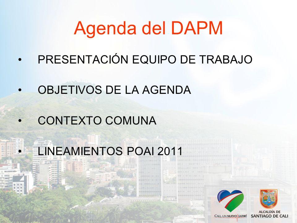 Agenda del DAPM PRESENTACIÓN EQUIPO DE TRABAJO OBJETIVOS DE LA AGENDA