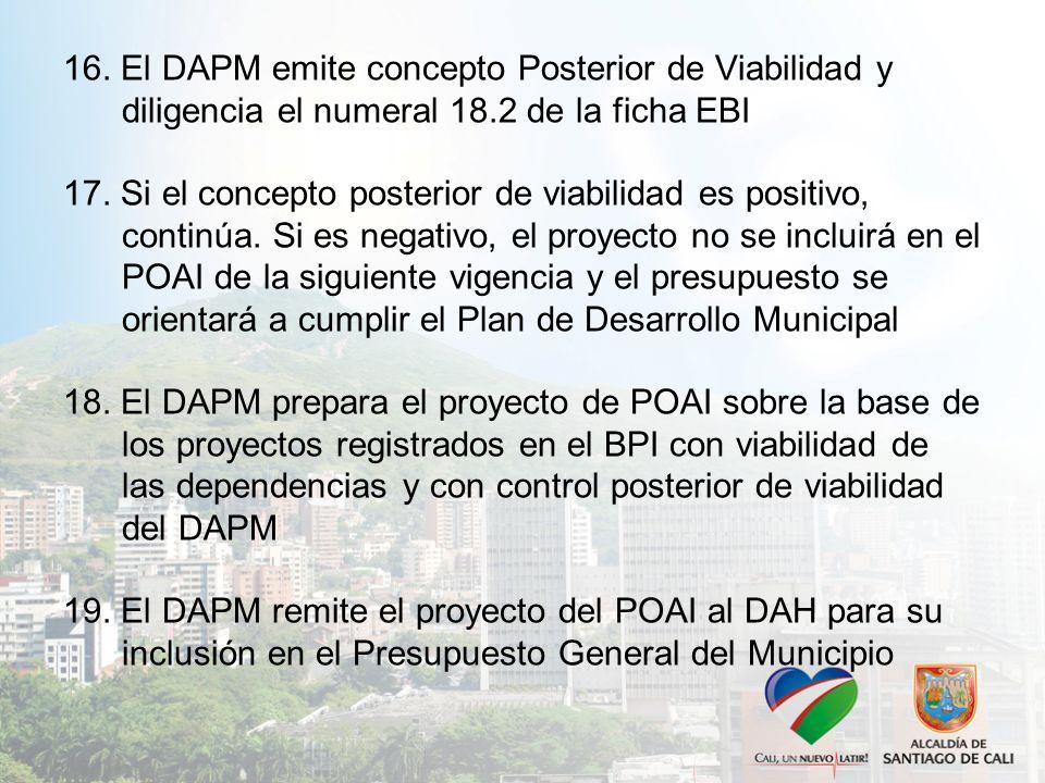 16. El DAPM emite concepto Posterior de Viabilidad y diligencia el numeral 18.2 de la ficha EBI