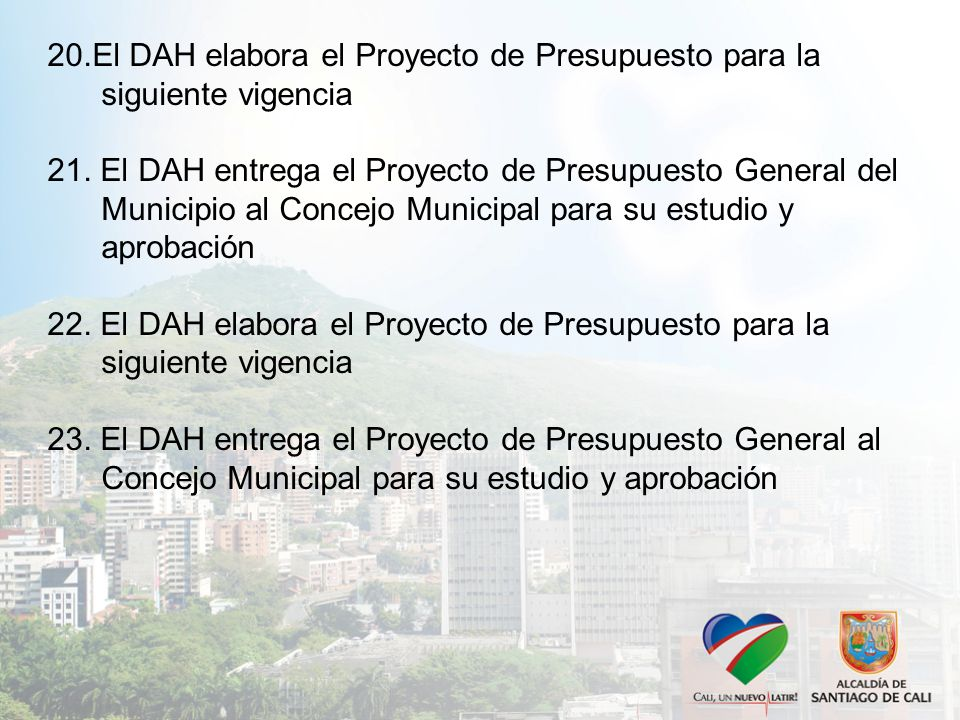 20.El DAH elabora el Proyecto de Presupuesto para la siguiente vigencia 21.