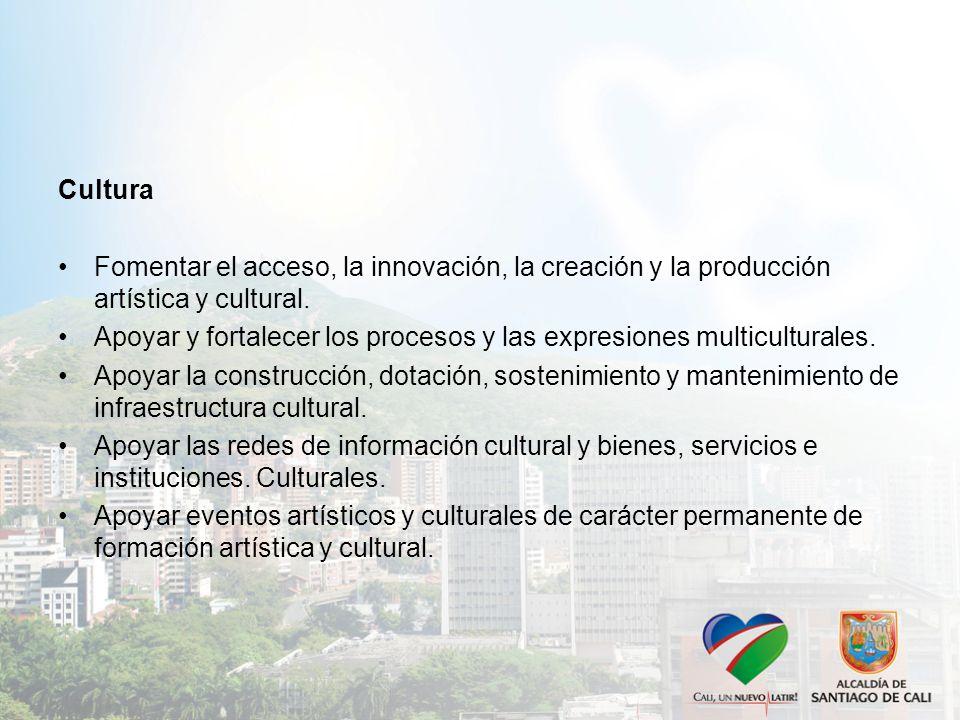 Cultura Fomentar el acceso, la innovación, la creación y la producción artística y cultural.
