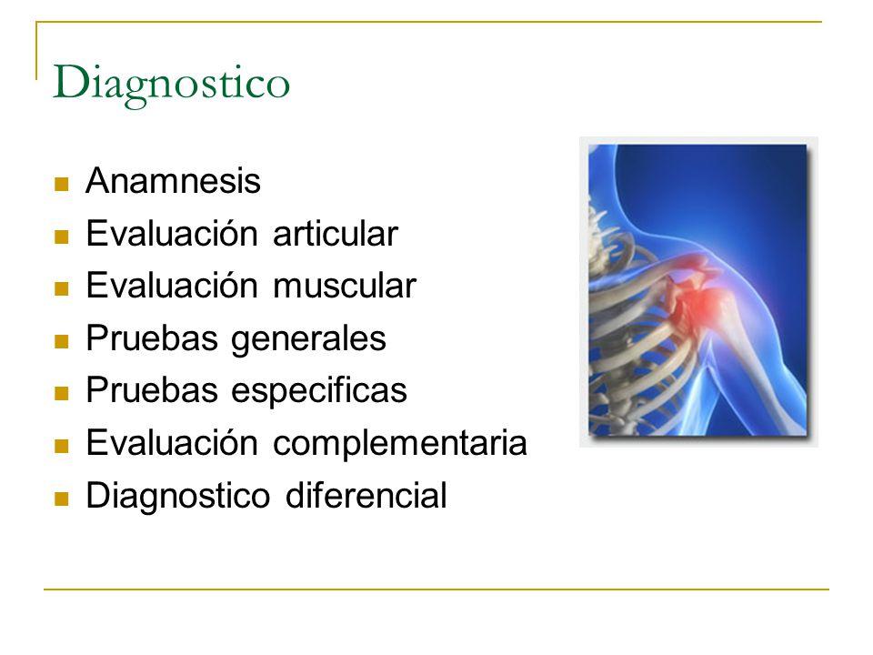 Diagnostico Anamnesis Evaluación articular Evaluación muscular