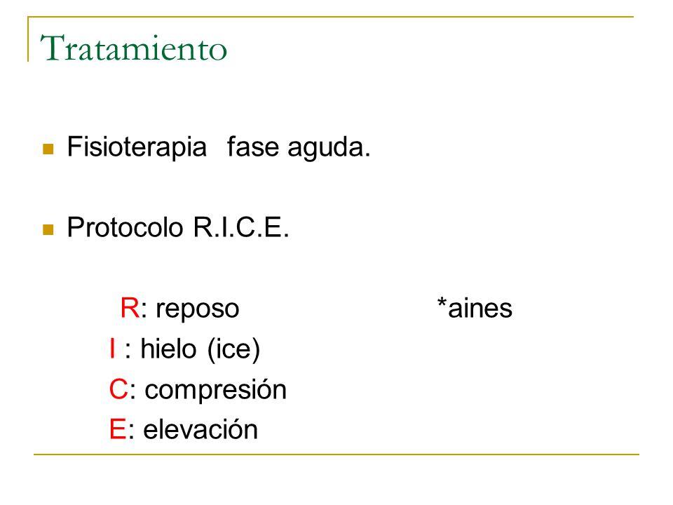 Tratamiento Fisioterapia fase aguda. Protocolo R.I.C.E.