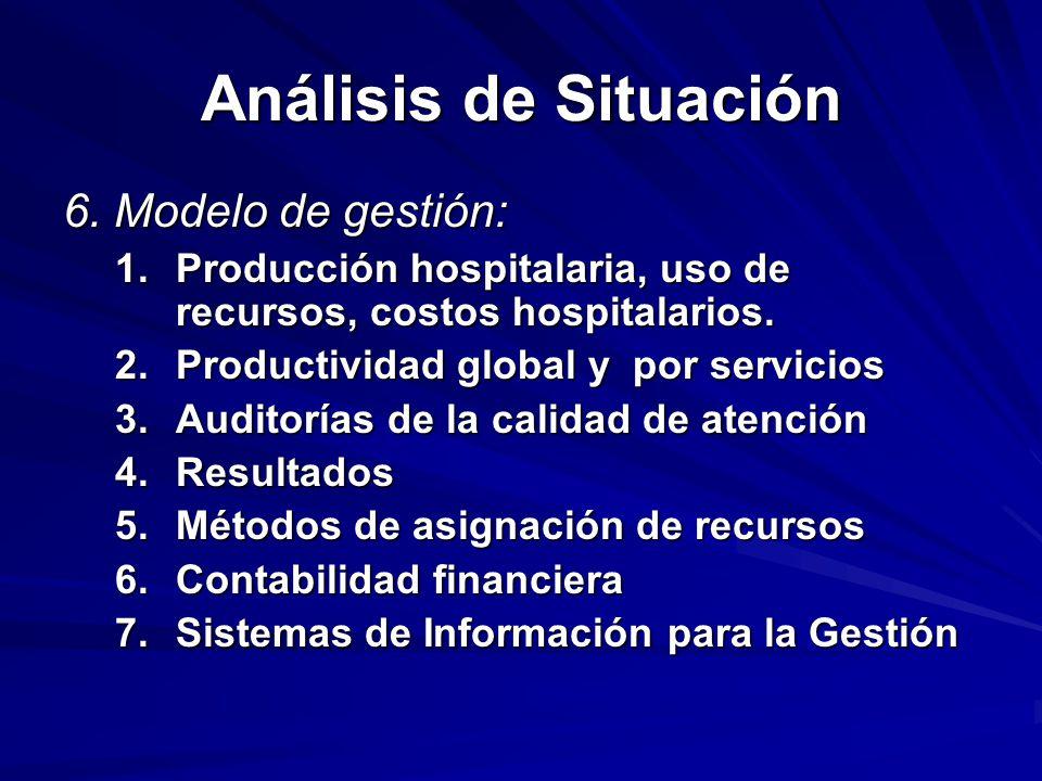 Análisis de Situación 6. Modelo de gestión: