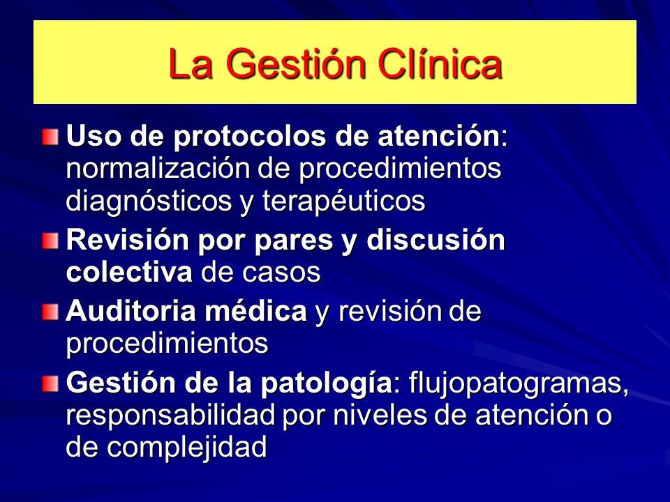 La Gestión Clínica Uso de protocolos de atención: normalización de procedimientos diagnósticos y terapéuticos.