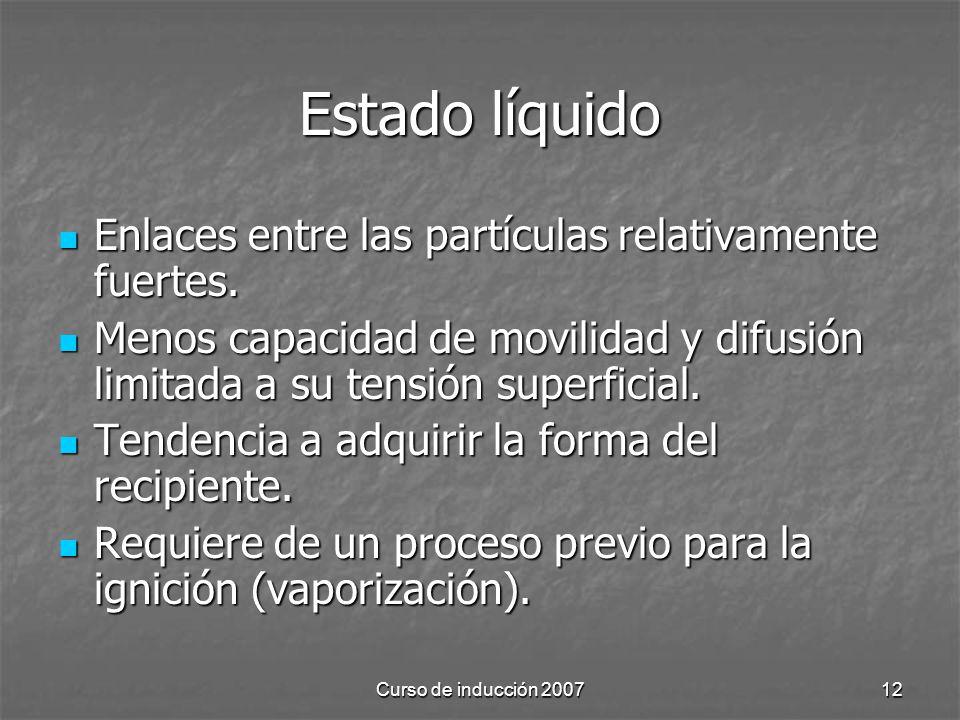 Estado líquido Enlaces entre las partículas relativamente fuertes.