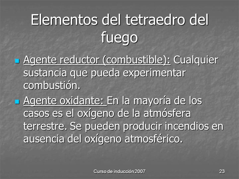 Elementos del tetraedro del fuego
