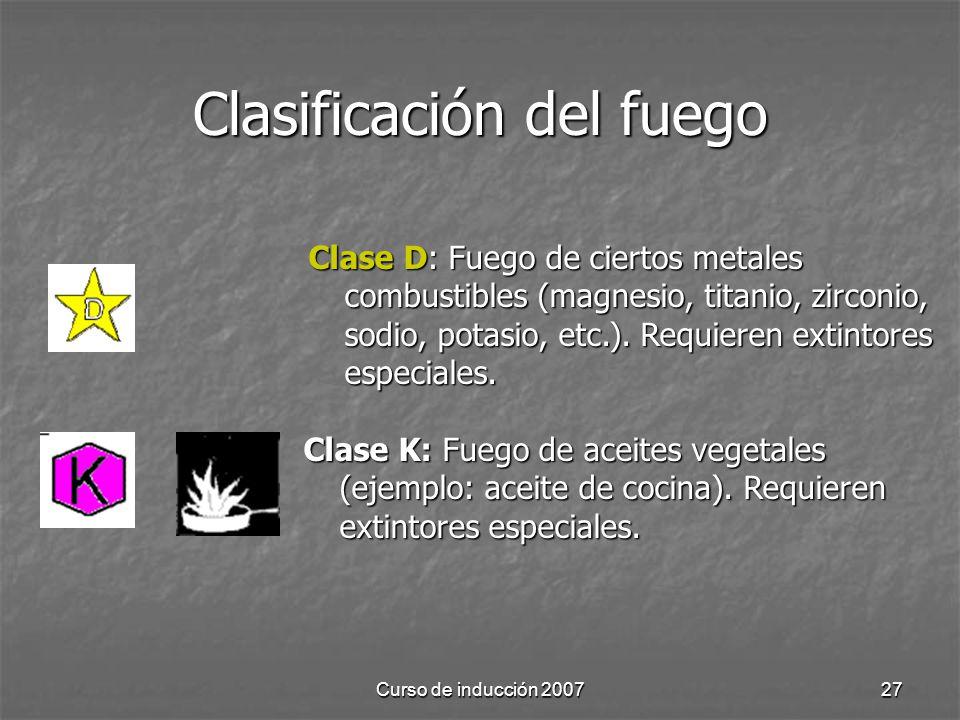 Clasificación del fuego