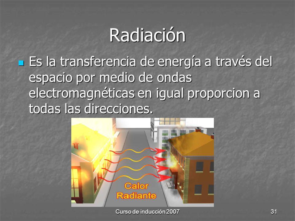 Radiación Es la transferencia de energía a través del espacio por medio de ondas electromagnéticas en igual proporcion a todas las direcciones.