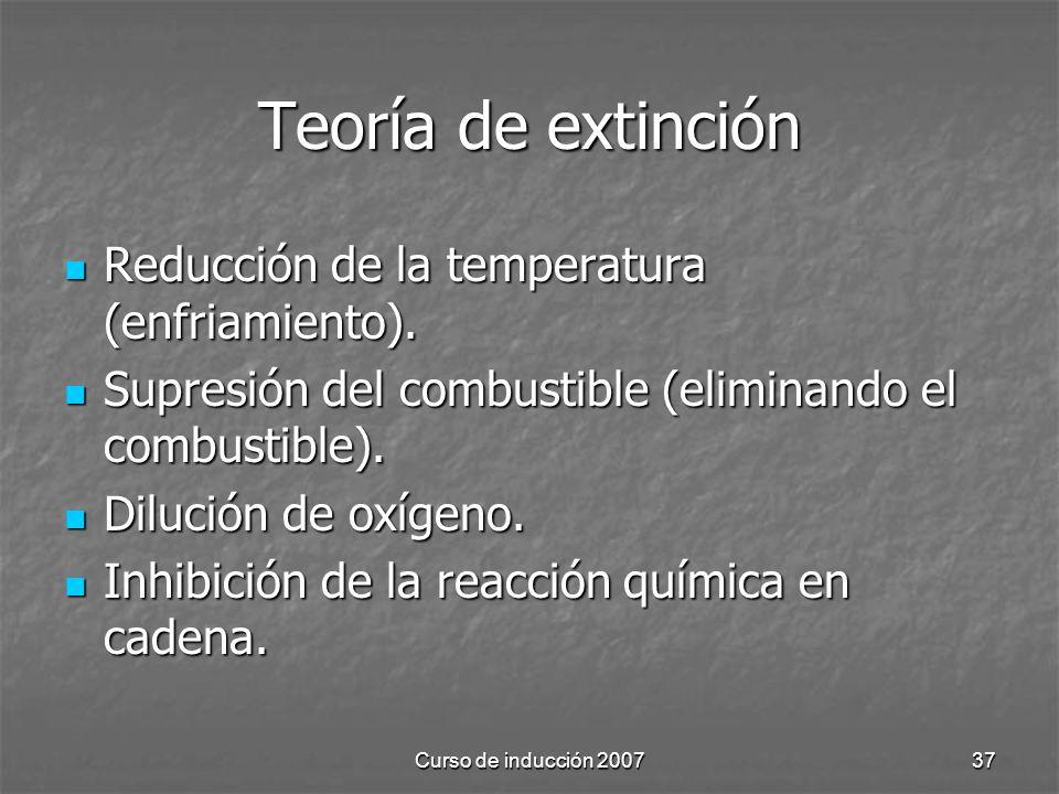 Teoría de extinción Reducción de la temperatura (enfriamiento).