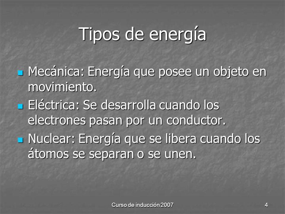 Tipos de energía Mecánica: Energía que posee un objeto en movimiento.