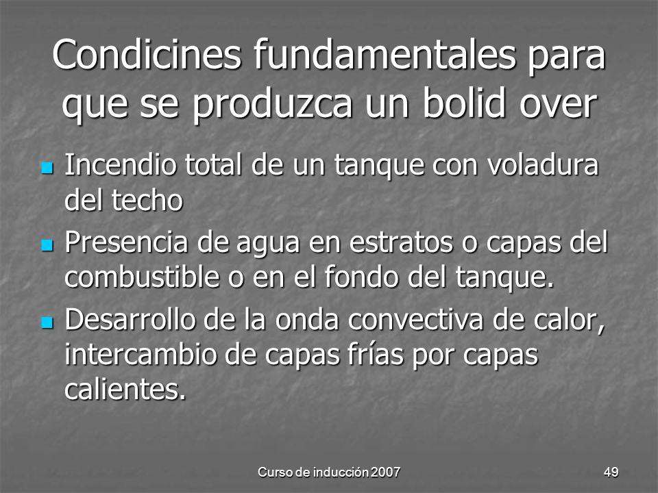 Condicines fundamentales para que se produzca un bolid over