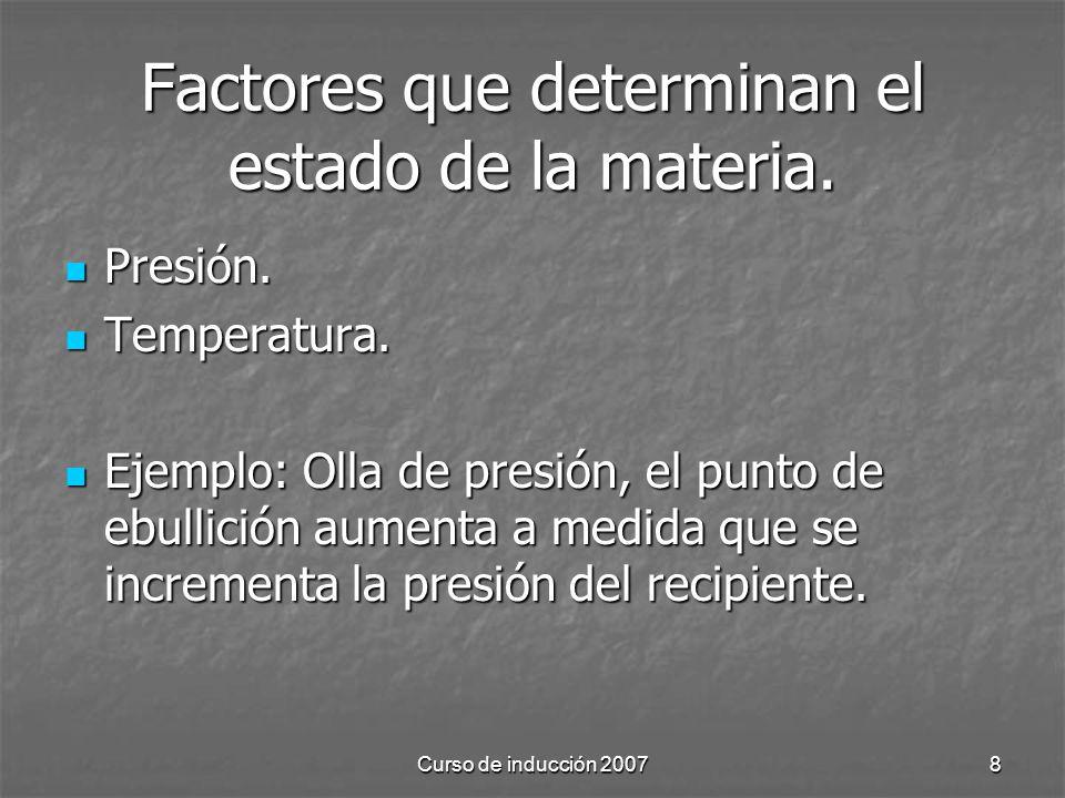 Factores que determinan el estado de la materia.