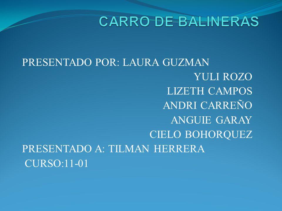 CARRO DE BALINERAS PRESENTADO POR: LAURA GUZMAN YULI ROZO