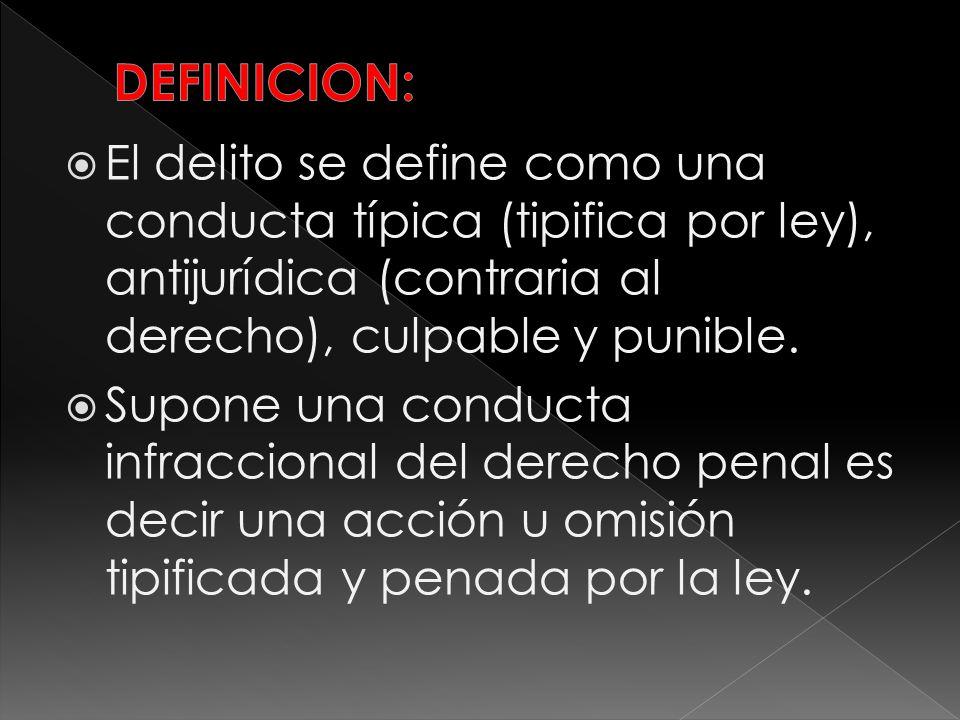 DEFINICION: El delito se define como una conducta típica (tipifica por ley), antijurídica (contraria al derecho), culpable y punible.
