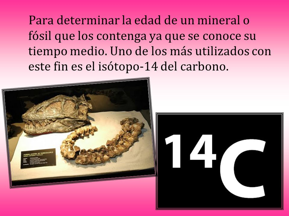Para determinar la edad de un mineral o fósil que los contenga ya que se conoce su tiempo medio.