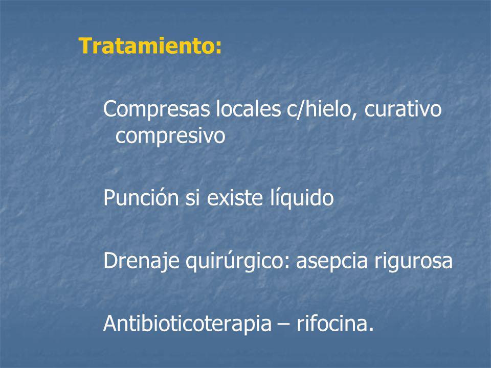 Tratamiento: Compresas locales c/hielo, curativo compresivo. Punción si existe líquido. Drenaje quirúrgico: asepcia rigurosa.