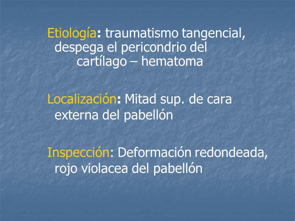 Etiología: traumatismo tangencial, despega el pericondrio del