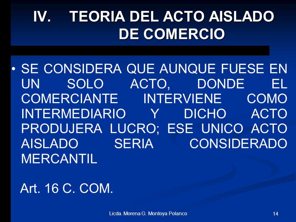 TEORIA DEL ACTO AISLADO DE COMERCIO