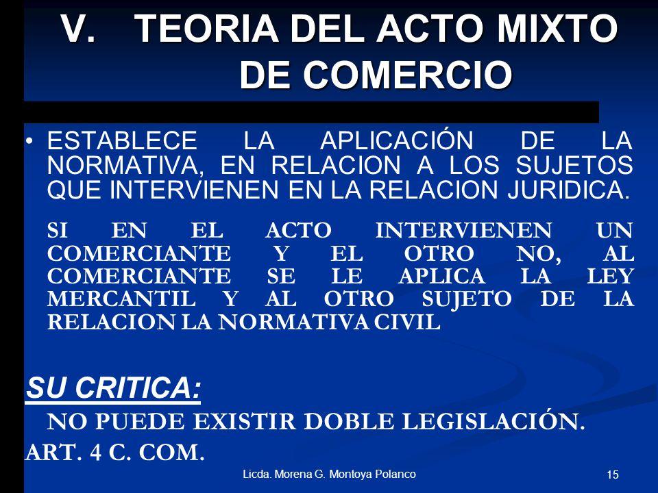 TEORIA DEL ACTO MIXTO DE COMERCIO