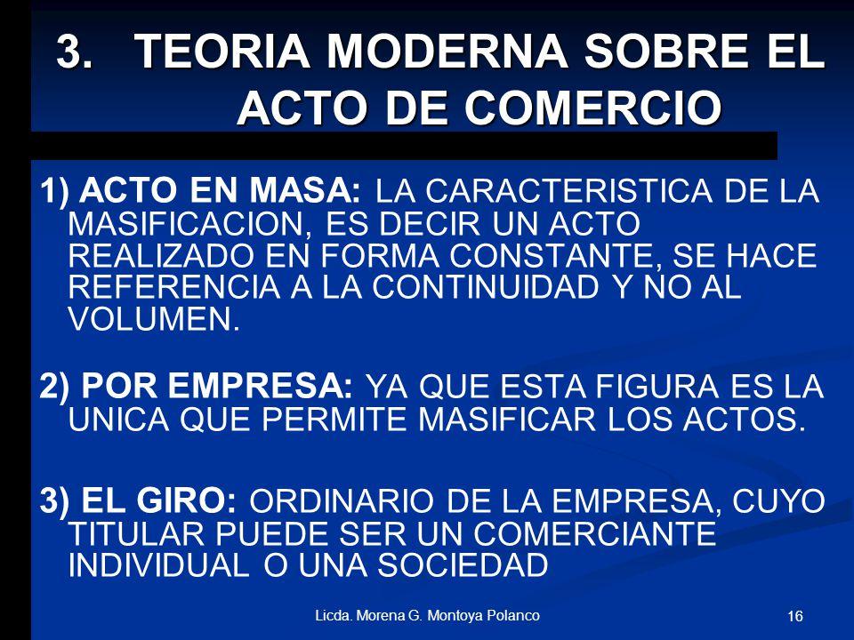 TEORIA MODERNA SOBRE EL ACTO DE COMERCIO