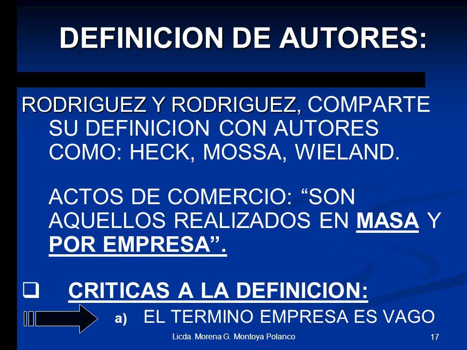 DEFINICION DE AUTORES: