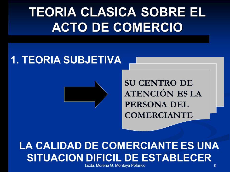 TEORIA CLASICA SOBRE EL ACTO DE COMERCIO