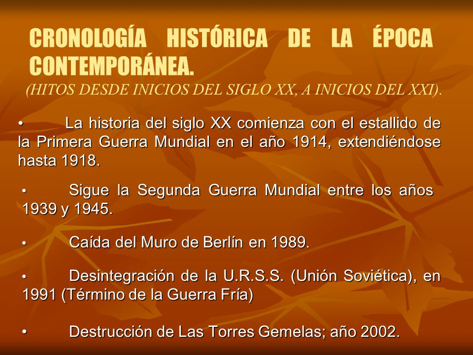 CRONOLOGÍA HISTÓRICA DE LA ÉPOCA CONTEMPORÁNEA.