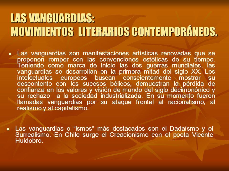 LAS VANGUARDIAS: MOVIMIENTOS LITERARIOS CONTEMPORÁNEOS.