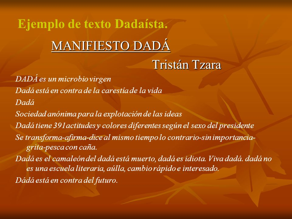 Ejemplo de texto Dadaísta.