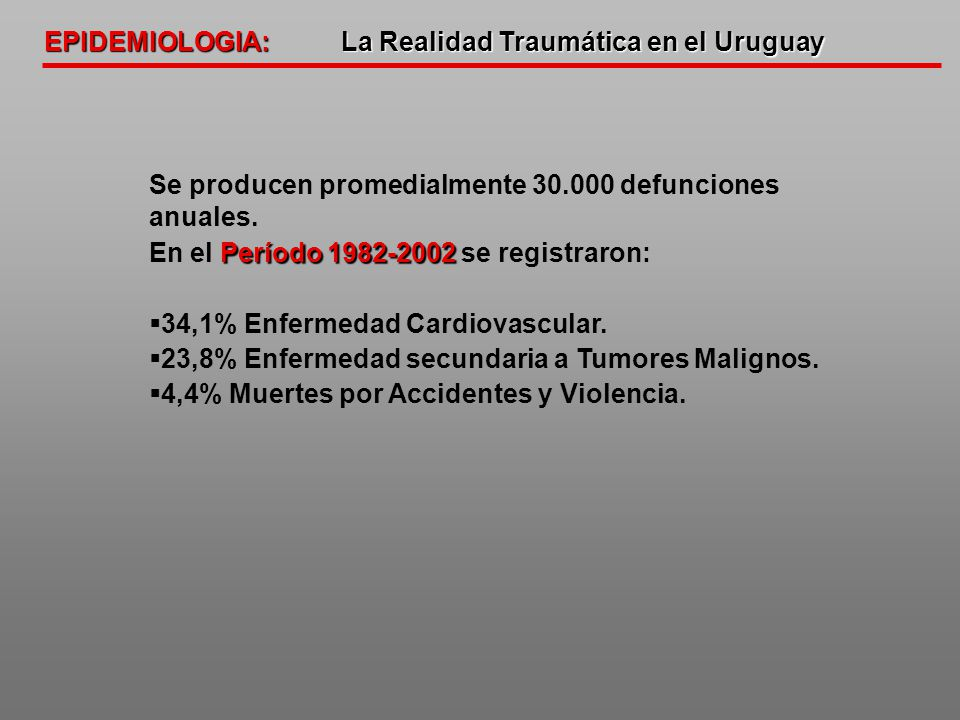 EPIDEMIOLOGIA: La Realidad Traumática en el Uruguay