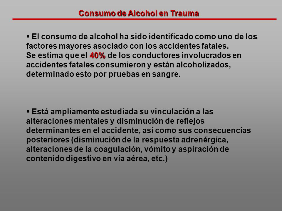 Consumo de Alcohol en Trauma
