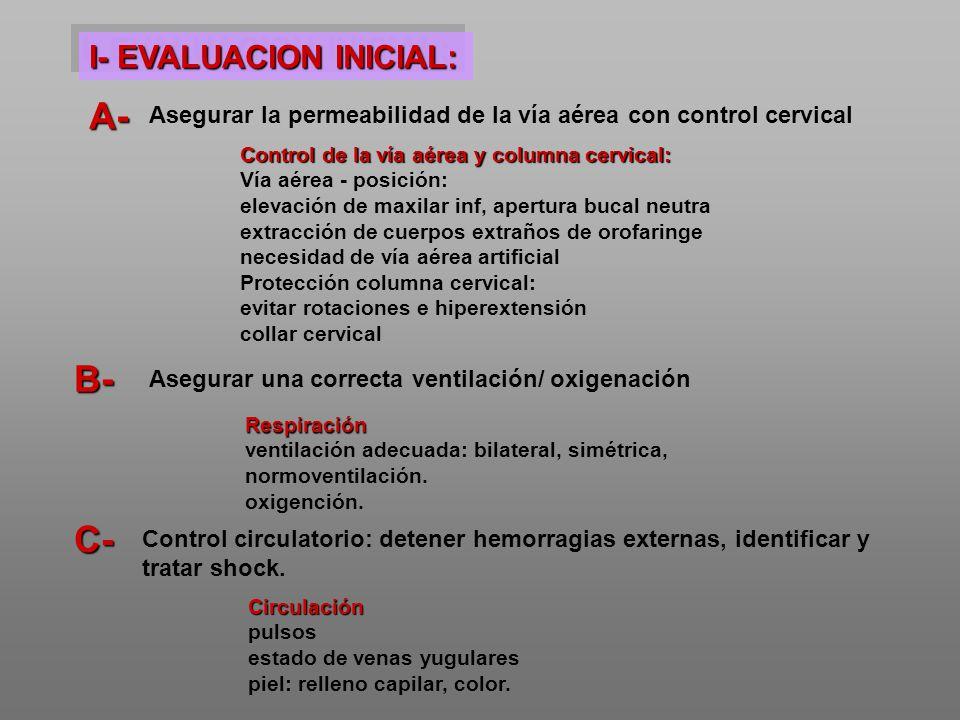 A- B- C- I- EVALUACION INICIAL: