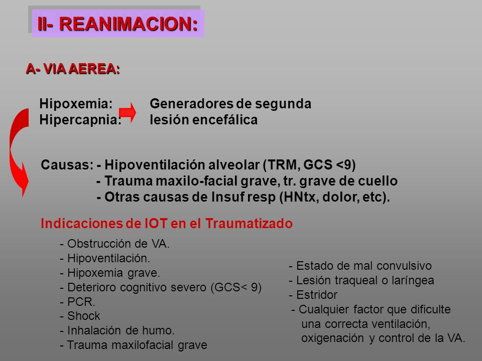 II- REANIMACION: A- VIA AEREA: Hipoxemia: Hipercapnia: