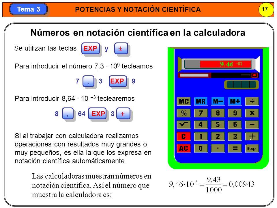 Números en notación científica en la calculadora