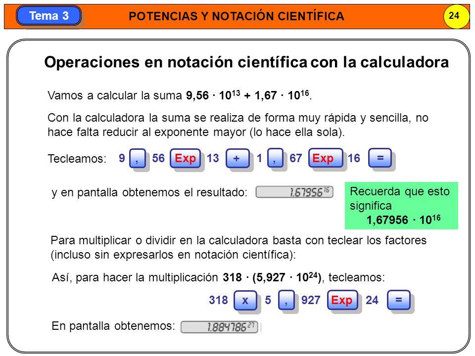 Operaciones en notación científica con la calculadora