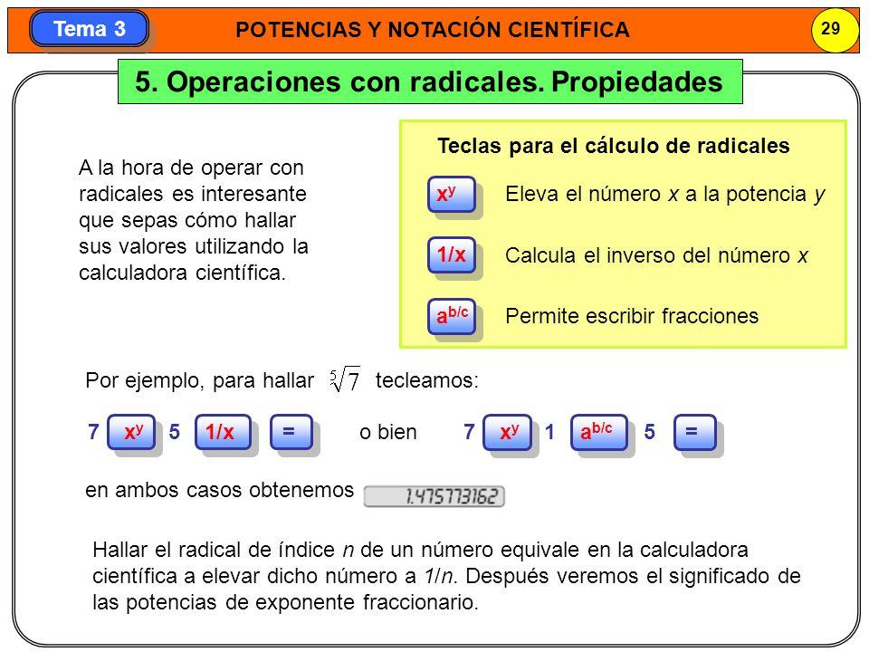 5. Operaciones con radicales. Propiedades