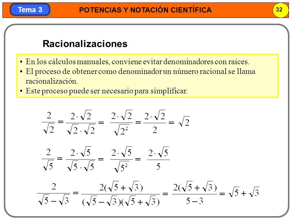 Racionalizaciones En los cálculos manuales, conviene evitar denominadores con raíces.