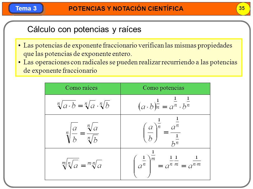 Cálculo con potencias y raíces