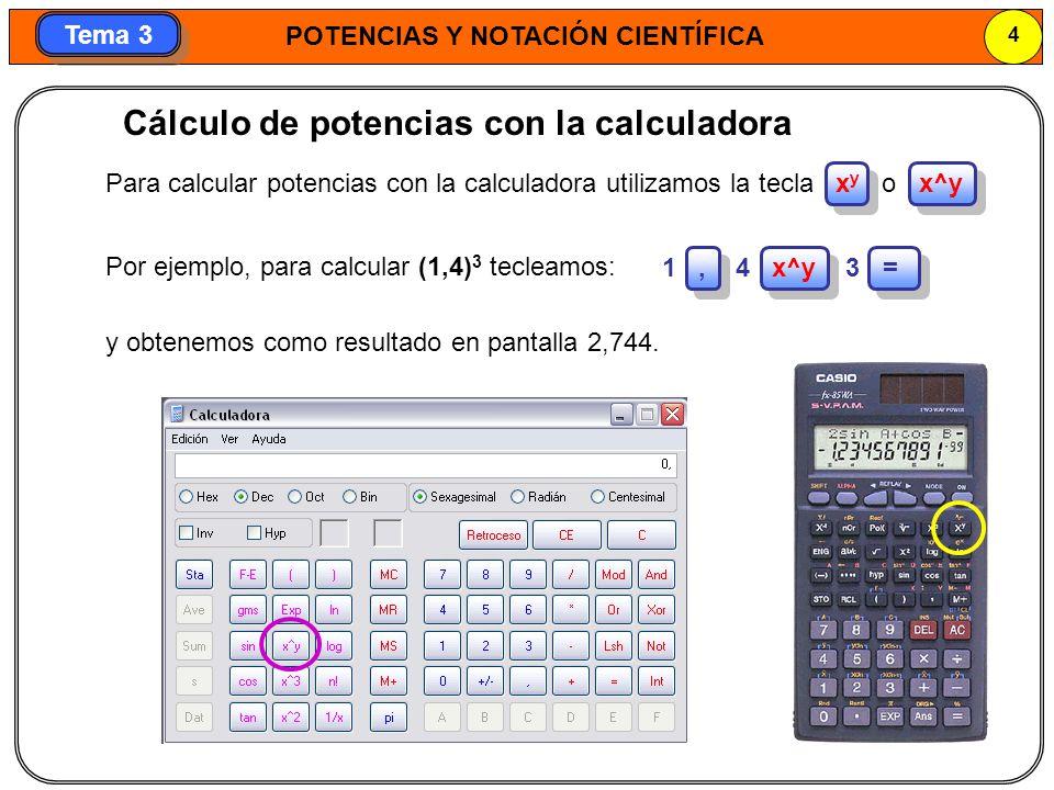 Cálculo de potencias con la calculadora