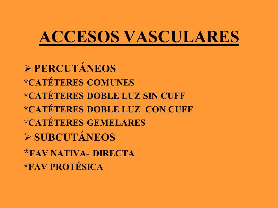 ACCESOS VASCULARES PERCUTÁNEOS SUBCUTÁNEOS *FAV NATIVA- DIRECTA