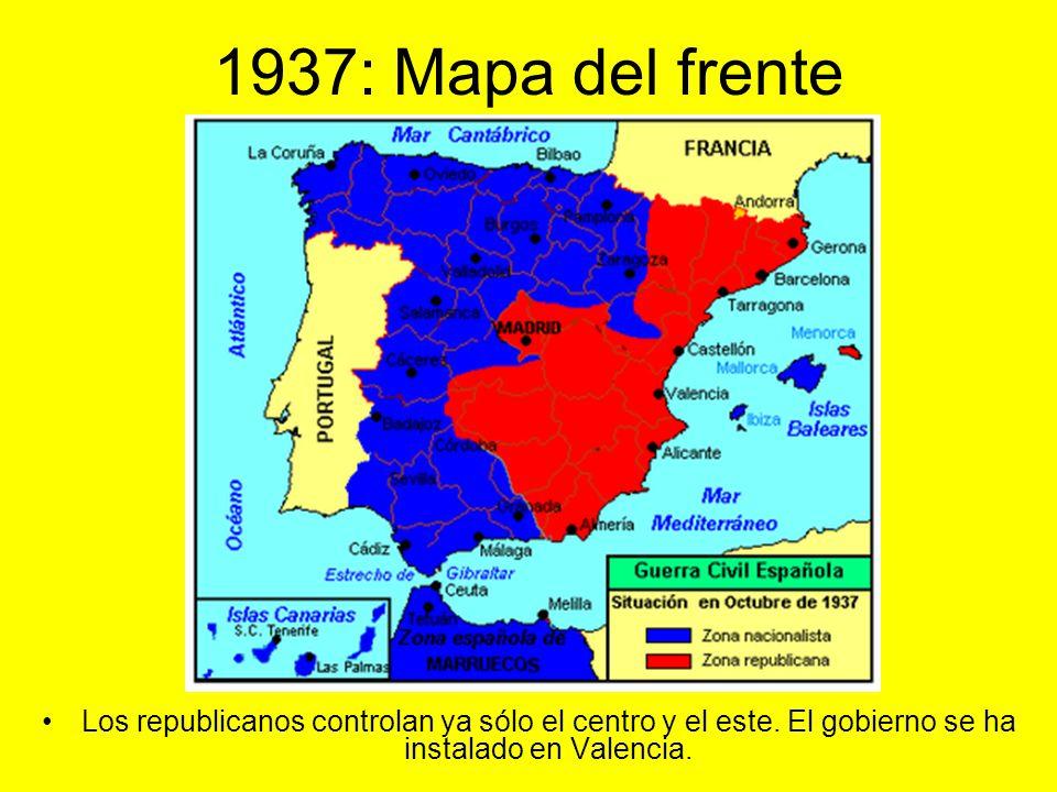 1937: Mapa del frente Los republicanos controlan ya sólo el centro y el este.