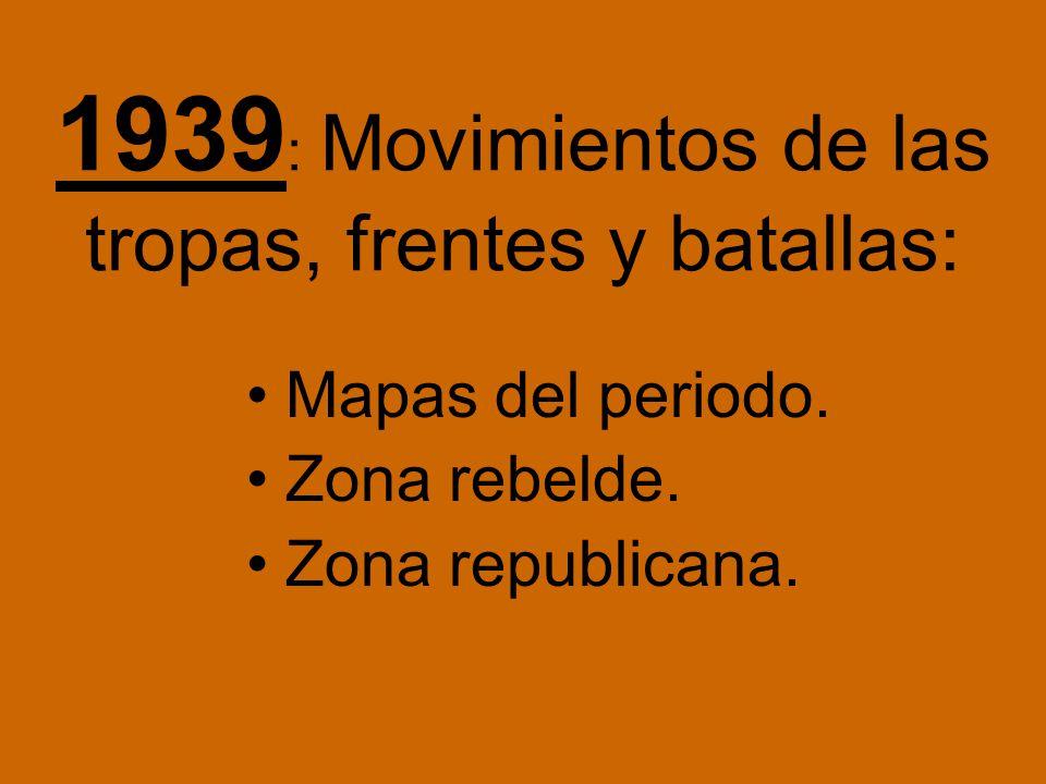 1939: Movimientos de las tropas, frentes y batallas: