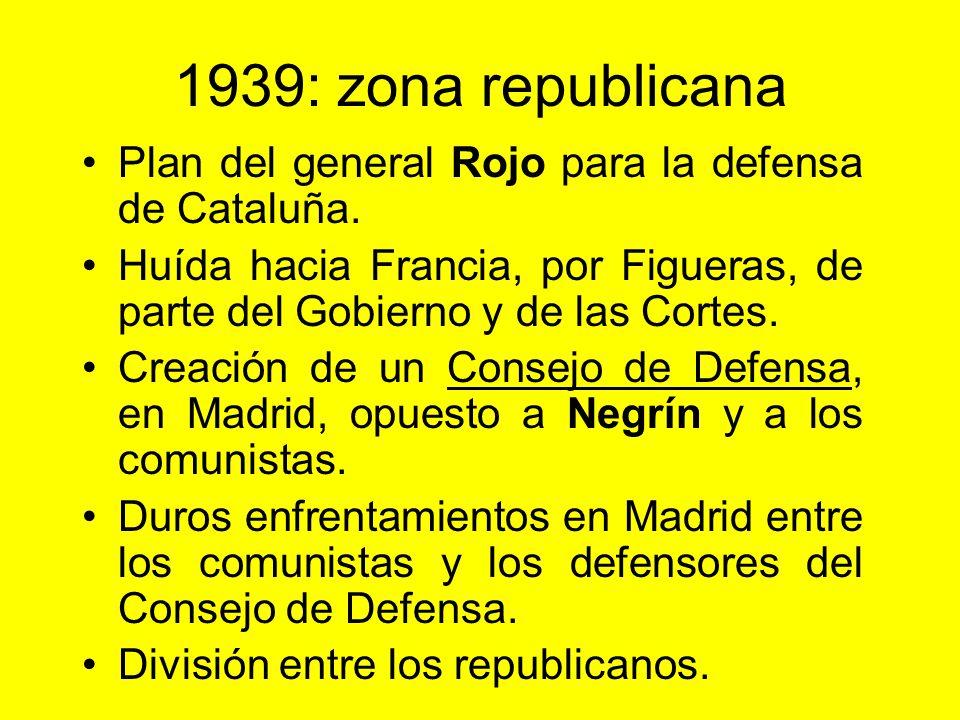 1939: zona republicana Plan del general Rojo para la defensa de Cataluña. Huída hacia Francia, por Figueras, de parte del Gobierno y de las Cortes.
