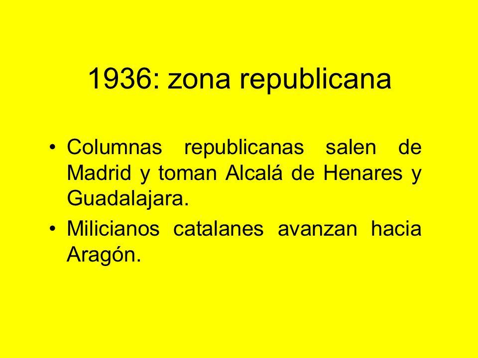 1936: zona republicana Columnas republicanas salen de Madrid y toman Alcalá de Henares y Guadalajara.