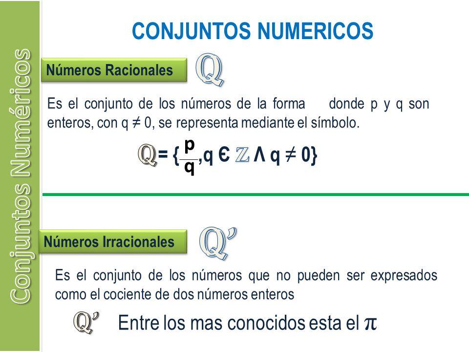 Q Q' Conjuntos Numéricos Q Q' CONJUNTOS NUMERICOS p