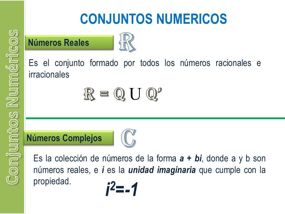 R c i2=-1 Conjuntos Numéricos R = Q U Q' CONJUNTOS NUMERICOS